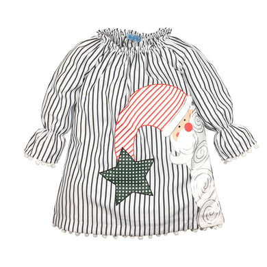 Black and White Stripes Santa Claus Pattern Girl's Tent Shaped Dress