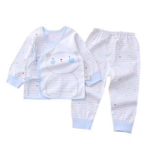 Baby's Cotton Cartoon Printed Pattern  Lace Up Rompers Suits