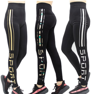 Letter Print Sporting Leggings Plus Size High Elastic Slimming Dancing Pants Fitness Female For Bodybuilding Aerobics Exercise