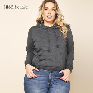 Solid Color Plus Size Sweatshirt with Hoodies