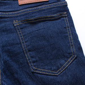 Solid Color Slim Long Denim Stretchy Jeans for Men