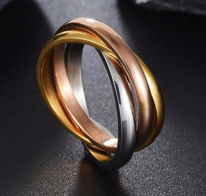 Titanium Steel Jewelry Wholesale Fashion Classic Creative Third Ring Tricolor Winding Ring
