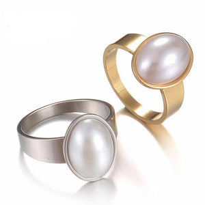 Women's Ring Creative Personality Small And Fresh Goose Egg Big Pearl White Collar Jewelry