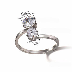 Hand - Decorated Female Double Diamond Stainless Steel Ring With Simple Flying Ring Opening Ring