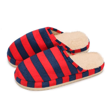 Autumn and Winter Home Stripes Pattern Cotton Warm  Slippers for Couples