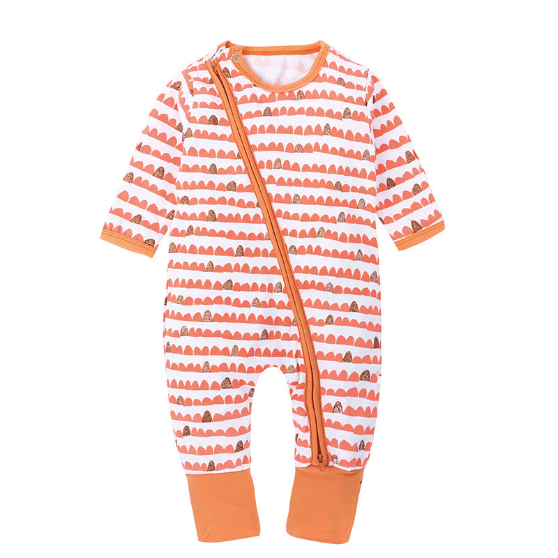 Cute Zip Up Ribbed Cuffs and Neckline Baby's Overall
