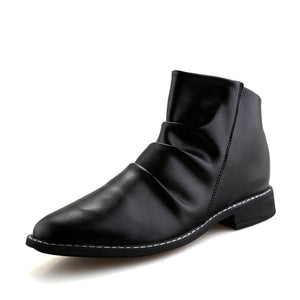 Piled Up Vamp Single Color Synthetic Leather Chelsea Boots for Men (1 pair)