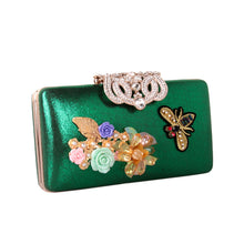 Women Three-Dimensional Silk Flower Pearl Petal Diamond-Encrusted Leather Bag Wedding Handbag