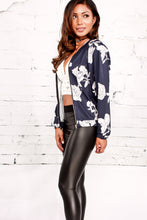 Floral Pattern Printed Zip Long Sleeve Casual Slim Jacket