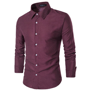 Spotted Pattern Men's Casual and Business Spread Collar Shirt