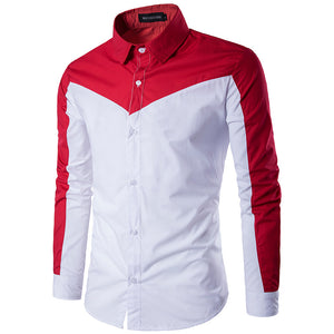 Joint Color Fashion Casual Men's Shirt