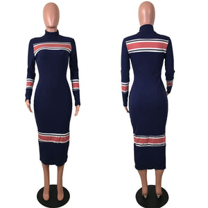 Turtle Neck Long Sleeves Color Stripes Fashion Dress