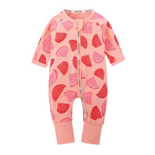 Watermelon Pattern Zip Up Baby's Long Sleeves Overalls