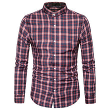 Men's Band Collar Plaid Check Pattern Long Sleeves Casual Shirts