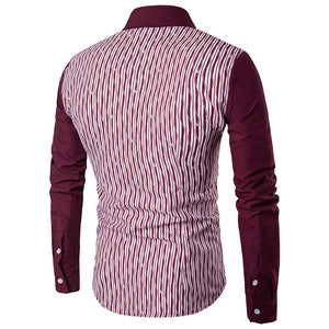 Vertical Stripes Pattern Red Sleeves Men's Shirts