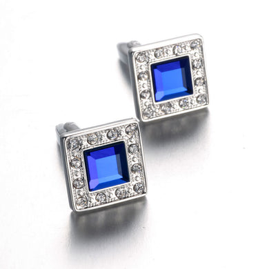 Blue Crystal Cufflinks Rhinestone Cuff link Shirt Men High Quality Gemelos