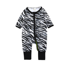 Zebra Pattern Baby's Zip Up Long Sleeves Rompers