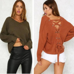 V Neck Loose l Backless Lace up Sweater