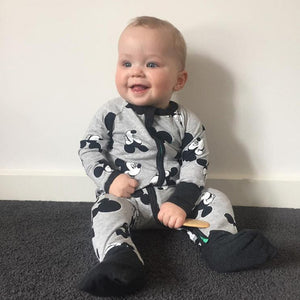 Cartoon Printed Front Closure Baby's Long Sleeves Rompers