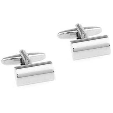 Pure Color Silvery Cylinder Cuff Links