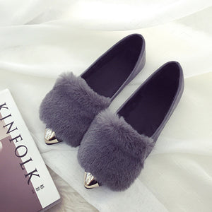 Metal Pointed Flat Casual Plush Shoes