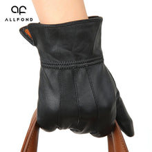 Quilted Goatskin Leather Black Gloves for Men