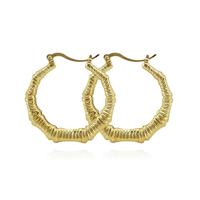 Punk Rose Gold Big Bamboo Hoop Earring Large Basketball Wives Round Circle Statement Earring Nightclub Jewelry