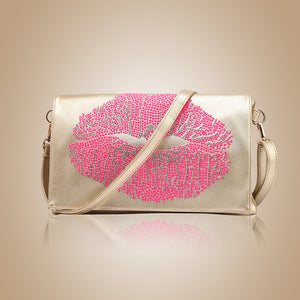 Lips Pattern Rhinestone Detailed Clutches