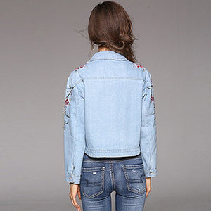 Embroidery Short Length Thick Denim Jacket for Women