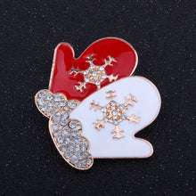 White and Red Gloves Design Rhinestone Women Brooches and Pins
