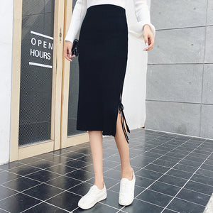 Women's Pencil Skirts with Fringes Hems