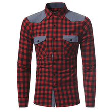 Plaid Check Pattern Spread Collar Double Check Pocket Shirt