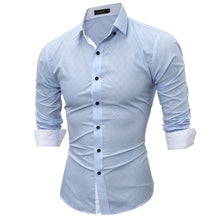 Plain Diamond Pattern Spread Collar Men's Business and Casual Shirt