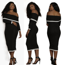 Off Shoulder Bodycon Knitting Long Dress