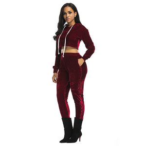 Autumn And Winter New Style Women's Wear European And American Long Sleeve Sexy Suit Sportswear Two Pieces