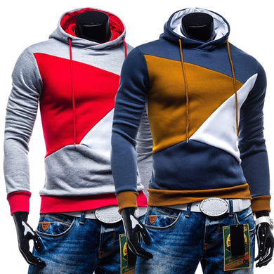 Color Blocks Casual Hoodies for Men