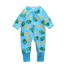 Blue Color Pineapple Pattern Zip Up Baby's Rompers