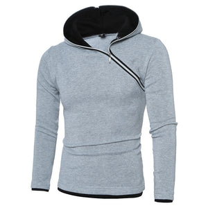 New Style Men's Oblique Zip Hooded Solid Color Hoodie Slim Long Sleeve Sweater