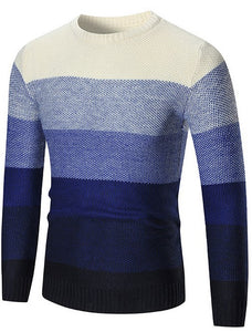 Off Color Blocks Long Sleeves Round Neck Men's Sweater