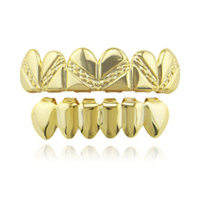 Fashion Stripe Silver Gold Teeth Grills Dental Top & Bottom Hiphop Grills Vampire Teeth Party CosplayTooth Jewelry