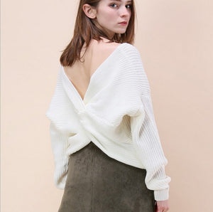 Batwing Long Sleeves Sexy Knitting Sweater