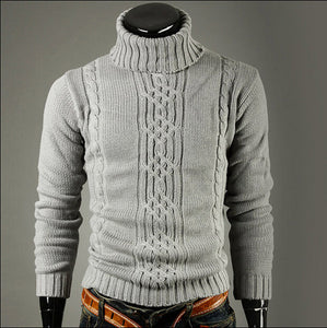Turtle Neck Long Sleeves Braided Pattern Sweaters