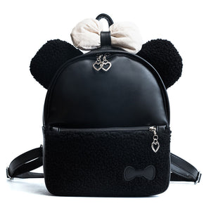 Winter Bear Bow Detail Plush Stitching Solid Color Cute Ladies Bag Mini Backpack