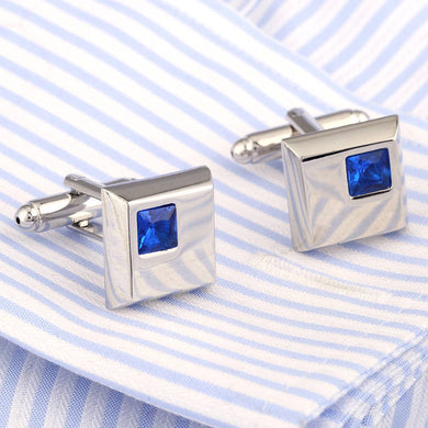 Top Quality Crystal Cufflinks Silver Cuff links French Shirt Cuffs Gemelos Wedding Collar Studs