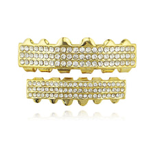 Gold Iced Out Rhinestone Teeth Grills Top&Bottom Grills Set For Mouth Teeth Caps Vampire Body Jewelry