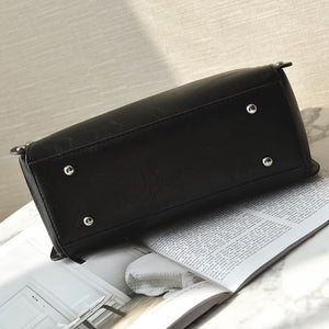 Rivet Detail Alloy Handle Trapezoid Shape Crossbody Bags