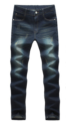 Slightly Worn Out Style Long Fashion Men's Jeans