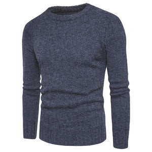 Round Collar Solid Color Slim Casual Sweater for Men