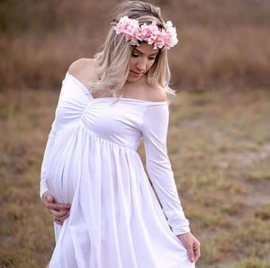 Maternity Photography Gown Off Shoulder Long Sleeve Split Front Maxi Dress