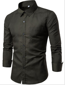 Solid Color Long Sleeves Formal Dressing Shirts